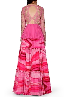 Pink Embroidered Peplum Top With Layered Lehenga by Limerick By Abirr N' Nanki
