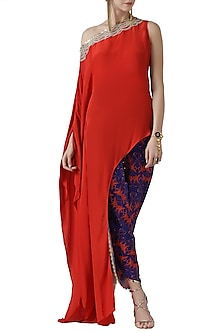 Red embroidered asymmetrical kurta with tulip pants by Limerick By Abirr N' Nanki