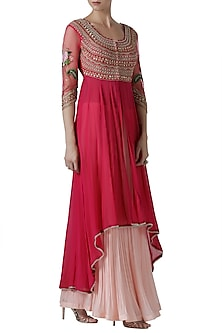 Pink embroidered lehenga set by Limerick By Abirr N' Nanki