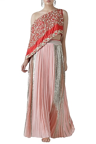 Red embroidered one shoulder kurta with skirt by Limerick By Abirr N' Nanki