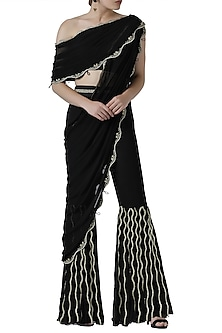 Black embroidered drape top with pleated pants by Limerick By Abirr N' Nanki