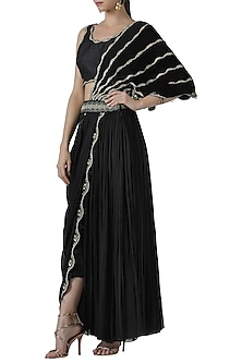 Black embroidered drape lehenga set by Limerick By Abirr N' Nanki