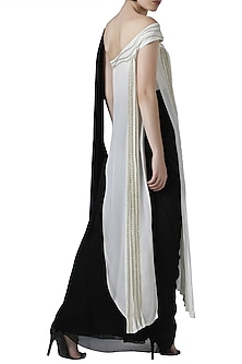 Ivory and black embroidered pant saree set by Limerick By Abirr N' Nanki