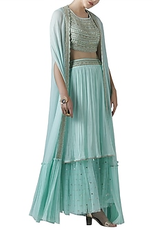 Mint embroidered lehenga skirt with blouse and cape by Limerick By Abirr N' Nanki