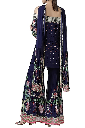 Navy blue embroidered printed kurta set by Limerick By Abirr N' Nanki