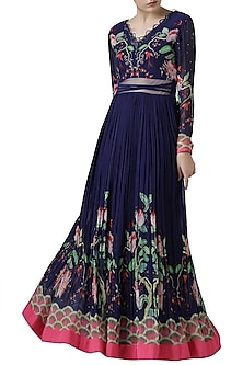 Navy blue embroidered printed gown by Limerick By Abirr N' Nanki