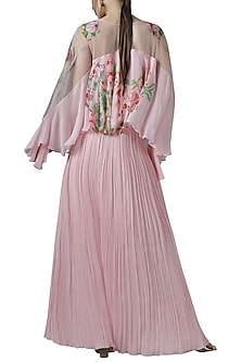 Pink embroidered cape top with skirt by Limerick By Abirr N' Nanki