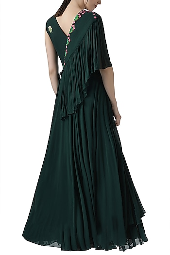 Deep green embroidered gown by Limerick By Abirr N' Nanki