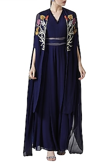 Navy blue embroidered jumpsuit with cape by Limerick By Abirr N' Nanki
