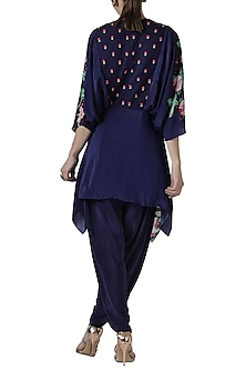 Navy blue embroidered tunic with dhoti pants by Limerick By Abirr N' Nanki