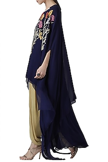 Navy blue embroidered tunic and cape with gold dhoti pants by Limerick By Abirr N' Nanki
