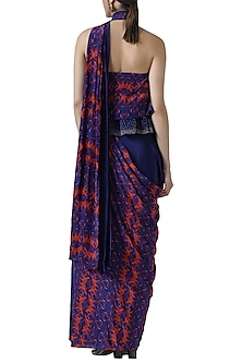Navy blue embroidered pre-stitched saree by Limerick By Abirr N' Nanki