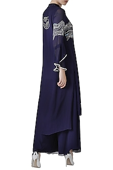 Navy blue embroidered kurta with palazzo pants by Limerick By Abirr N' Nanki