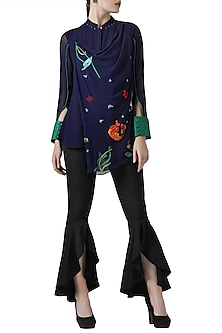 Navy blue embroidered drape shirt by Limerick By Abirr N' Nanki