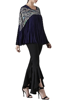 Navy blue embroidered pleated top by Limerick By Abirr N' Nanki