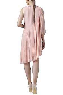 Blush pink embroidered asymmetrical tunic by Limerick By Abirr N' Nanki