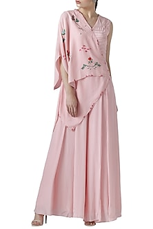 Blush pink embroidered jumpsuit by Limerick By Abirr N' Nanki