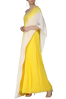 Yellow and Ivory Ombre Jumpsuit with Attached Embroidered Cape by Limerick By Abirr N' Nanki