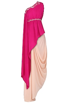 Fuschia Pink Embroidered Asymmetrical Top with Blush Pink Drape Skirt by Limerick By Abirr N' Nanki