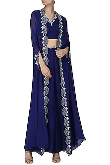 Navy Blue Embroidered Crop Top, Sharara Pants and Cape by Limerick By Abirr N' Nanki