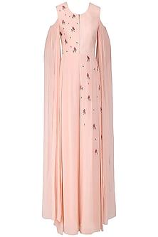 Blush Pink Embroidered Cold Shoulder Jumpsuit by Limerick By Abirr N' Nanki