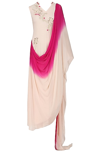 Pink Ombre Embroidered Drape Dress by Limerick By Abirr N' Nanki