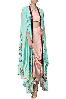 Blush Pink Embroidered Crop Top, Drape Skirt and Printed Cape by Limerick By Abirr N' Nanki