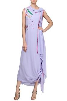 Lavender Embroidered Drape Midi Dress by Limerick By Abirr N' Nanki