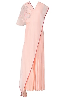 Blush Pink Embroidered Jumpsuit with Attached Drape by Limerick By Abirr N' Nanki