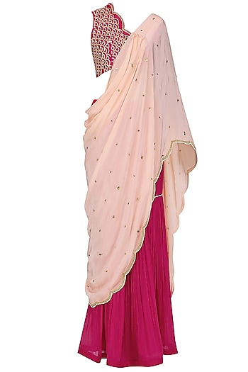 Fuschia Pink Embroidered Blouse with Attached Drape and Gharara Pants Set by Limerick By Abirr N' Nanki