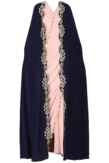 Blush Pink Drape Saree with Navy Blue Embroidered Cape by Limerick By Abirr N' Nanki