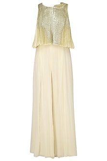 Ivory Lace Detail Jumpsuit with Pleated Cape by Limerick By Abirr N' Nanki