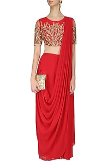 Red Embroidered Blouse and Pant Saree Set by Limerick By Abirr N' Nanki