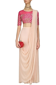 Fuschia Pink Embroidered Blouse and Pant Saree Set by Limerick By Abirr N' Nanki
