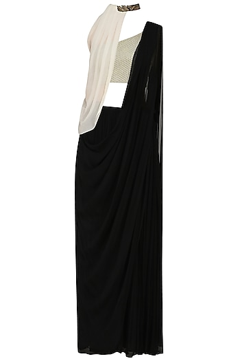 Black Prestitched Saree with Off White Blouse and Cape by Limerick By Abirr N' Nanki