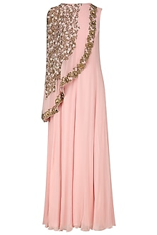 Baby Pink Floral Embroidered Cape Tunic by Limerick By Abirr N' Nanki