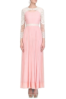 Blush Pink Pearl, Sequins and Bead Work Maxi Dress by Limerick By Abirr N' Nanki