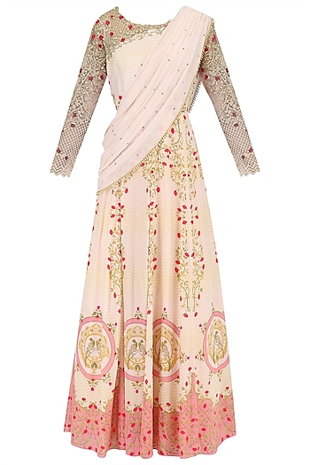 Blush Pink Pearl and Sequins Printed Cape Dress by Limerick By Abirr N' Nanki