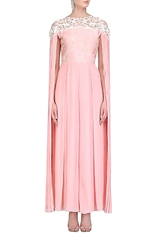 Blush Pink Cord and Pearl Work Jumpsuit by Limerick By Abirr N' Nanki