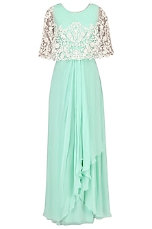 Mint Cord and Bead Work Cape Maxi Dress by Limerick By Abirr N' Nanki