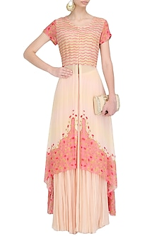 Blush Pink Cord Embroidered Asymmetrical Kurta and Sharara Set by Limerick By Abirr N' Nanki