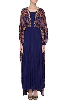 Royal Blue Dabka Embroidered Cape Dress by Limerick By Abirr N' Nanki