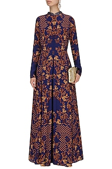Royal Blue Beadwork Anarkali with Crinkled Sharara Set by Limerick By Abirr N' Nanki