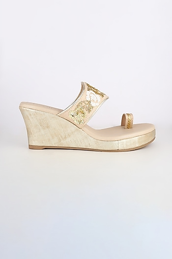 Golden Embroidered Platform Wedges by Leonish By Nidhi Sheth