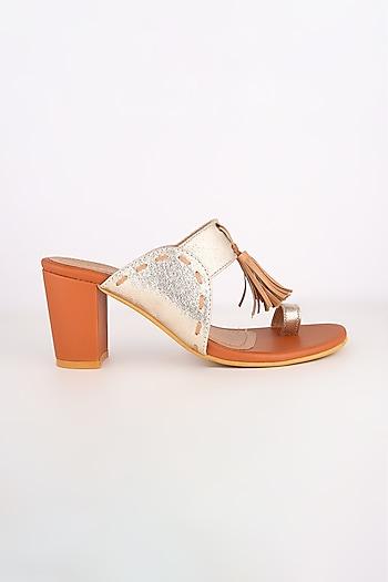 Tan & Golden Block Heels by Leonish By Nidhi Sheth