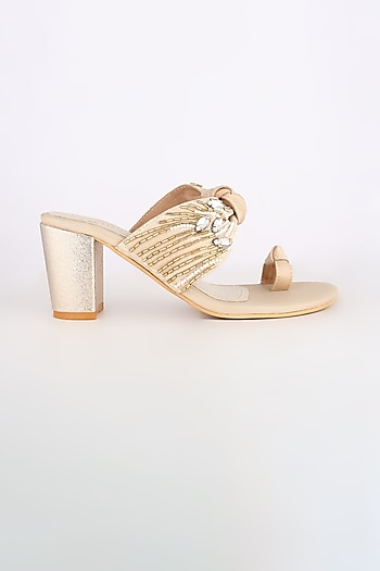 Light Golden Embroidered Block Heels by Leonish By Nidhi Sheth