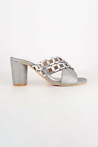 Grey Vegan Leather Cylindrical Block Heels by Leonish By Nidhi Sheth