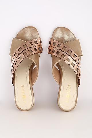 Golden Cylindrical Block Heels by Leonish By Nidhi Sheth