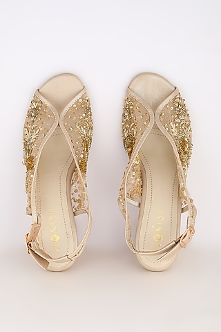 Light Gold Embroidered Block Heels by Leonish By Nidhi Sheth