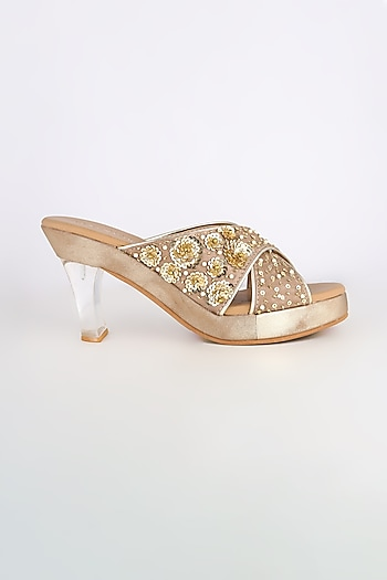 Light Brown Embroidered Acrylic Platform Heels by Leonish By Nidhi Sheth